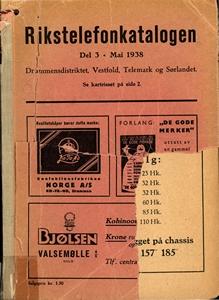 Rikstelefonkatalogen 1938 for Drammensdistriktet, Vestfold, Telemark og Sørlandet
